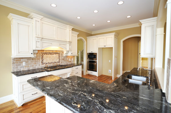 Granite Countertops Dark White Cabinets