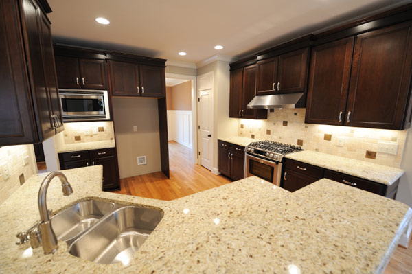 Granite Countertops White Dark Cabinets