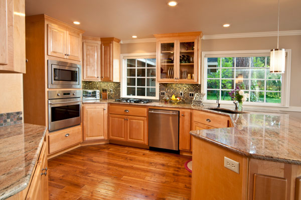 Granite Countertops tan maple Cabinets