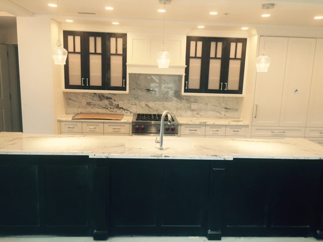 White Granite Kitchen Island
